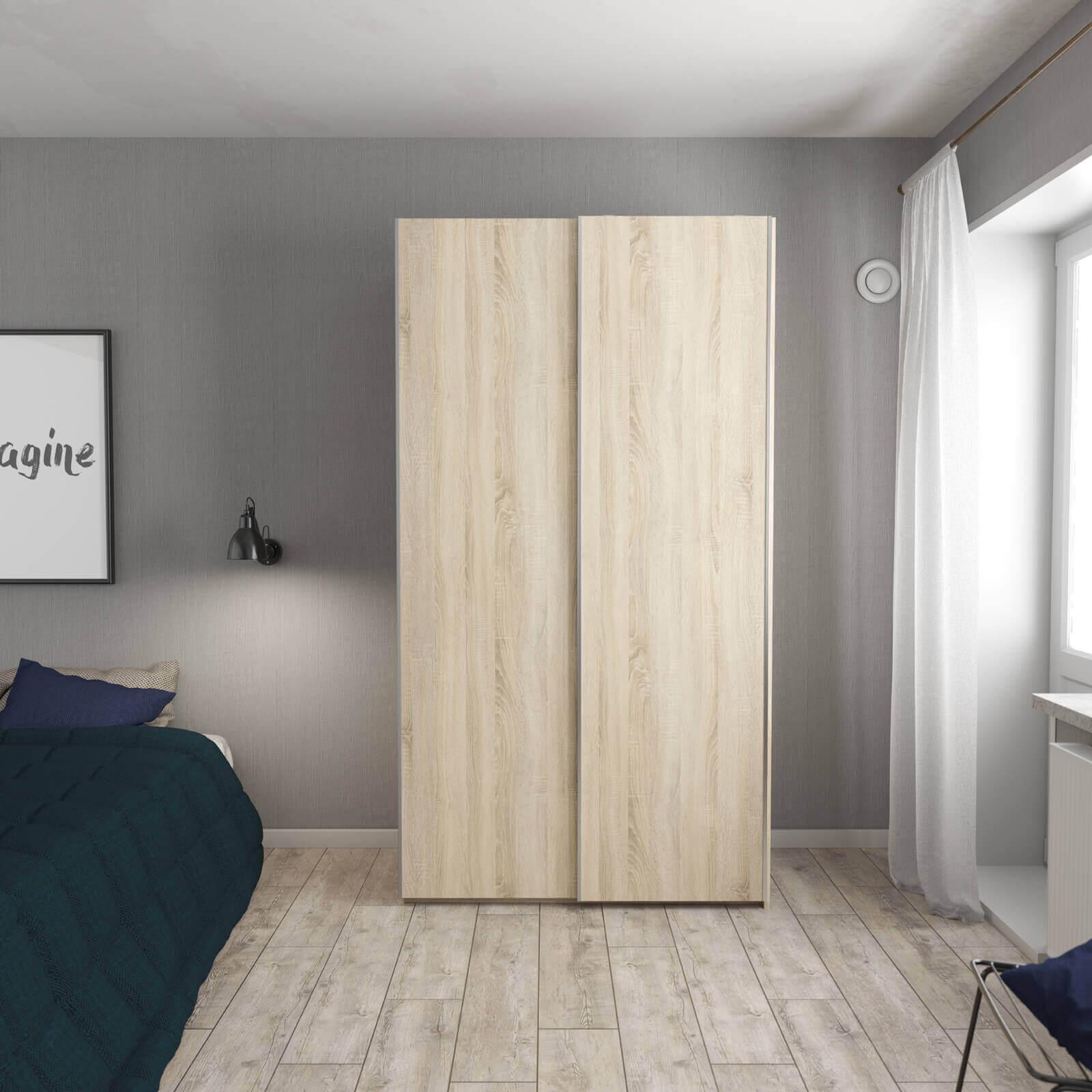 2 Door Frame Oak Flexi Storage Wardrobe